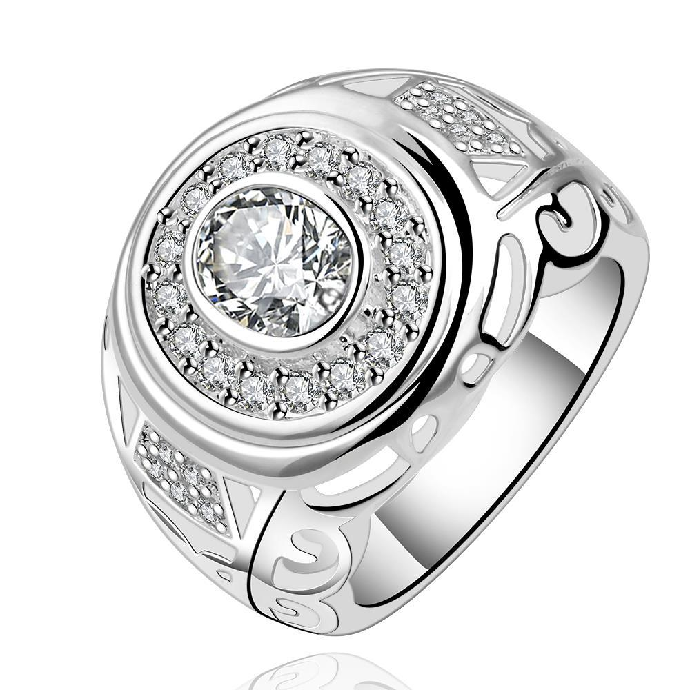 Vienna Jewelry Sterling Silver Circular Crystal Jewels Modern Ring Size: 8