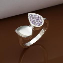 Vienna Jewelry Sterling Silver Purple Citrine Leaf Shape Petite Ring Size: 8 - Thumbnail 0