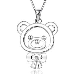 Vienna Jewelry Sterling Silver Hollow Teddy Bear Drop Necklace - Thumbnail 0