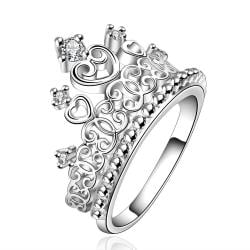 Vienna Jewelry Sterling Silver Queen's Crown Large Ring Size: 8 - Thumbnail 0