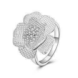Vienna Jewelry Sterling Silver Blossoming Petal Petite Ring Size: 7 - Thumbnail 0