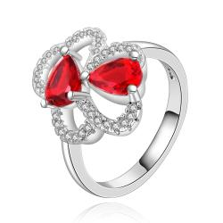 Vienna Jewelry Sterling Silver Duo-Mid Ruby Gems Petite Ring Size: 8 - Thumbnail 0