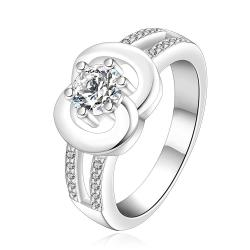 Vienna Jewelry Sterling Silver Crystal Jewel Duo-Circular Petite Ring Size: 7 - Thumbnail 0
