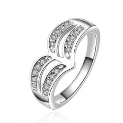 Vienna Jewelry Sterling Silver Duo-Curved Crystal Covering Ring Size: 8 - Thumbnail 0