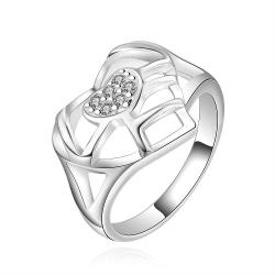 Vienna Jewelry Sterling Silver Laser Cut Heart Shaped Crystal Center Ring Size: 7 - Thumbnail 0