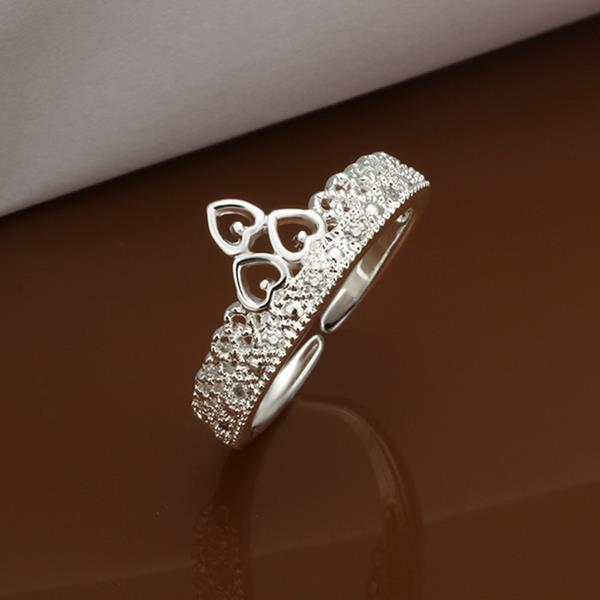 Vienna Jewelry Sterling Silver Crystal Jewels Lining Princess Tiara Ring Size: 8