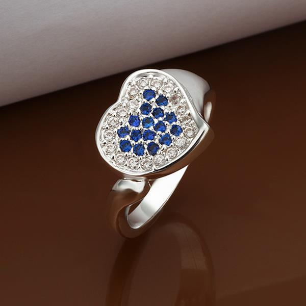 Vienna Jewelry Sterling Silver Mock Sapphire & Jewels Covering Heart Ring Size: 8