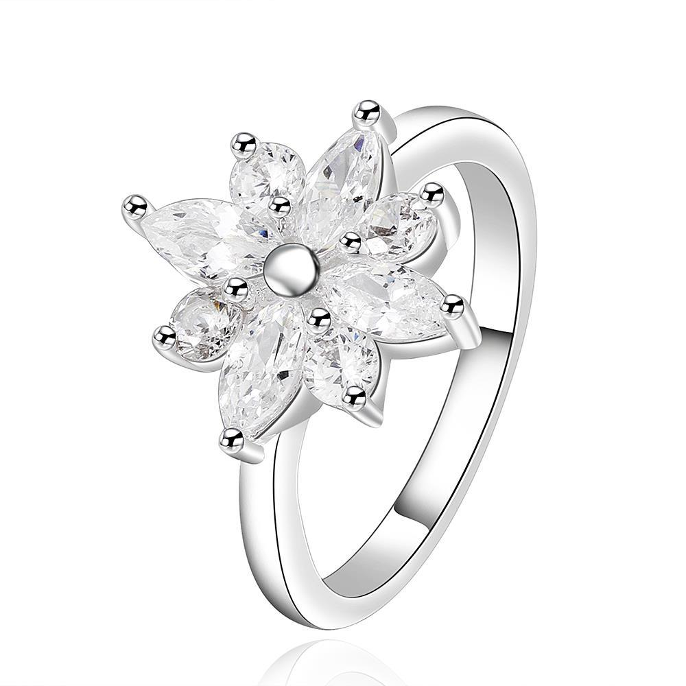 Vienna Jewelry Sterling Silver Classic Floral Petite Ring Size: 8