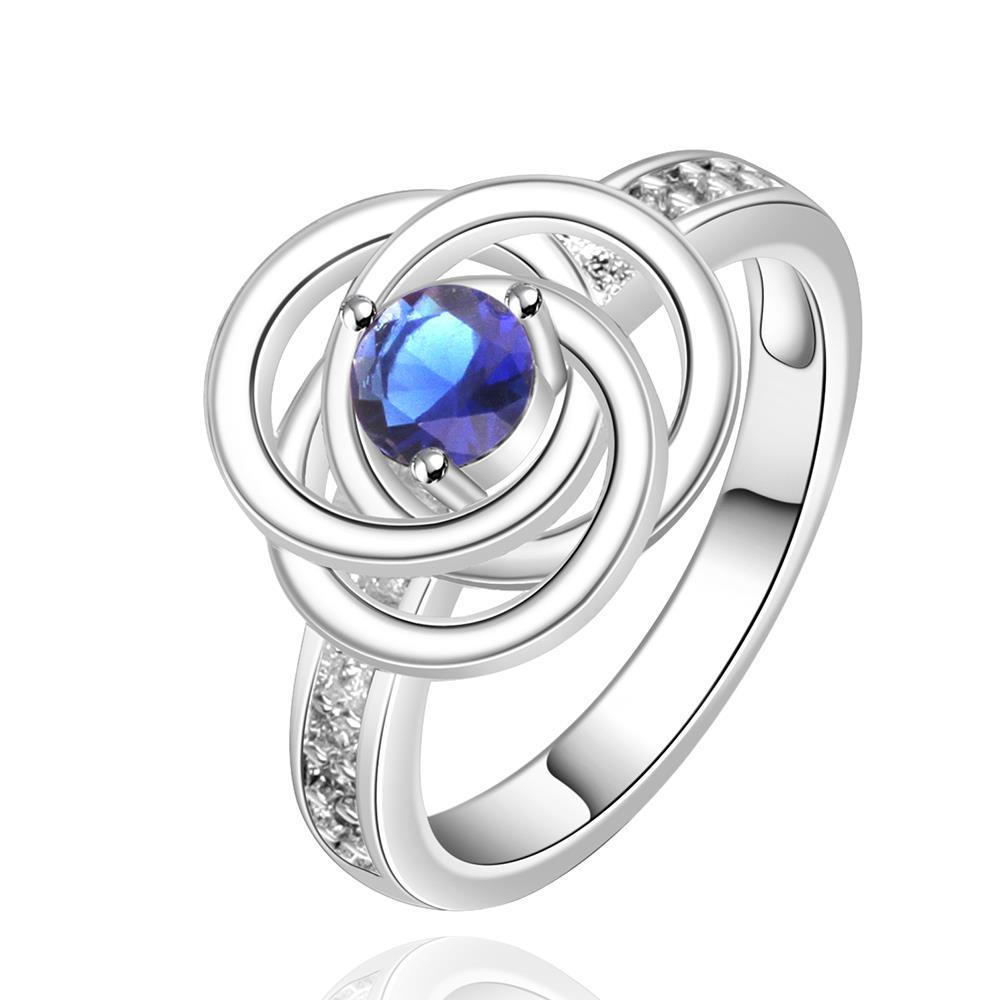 Vienna Jewelry Sterling Silver Mock Sapphire Swirl Emblem Ring Size: 8