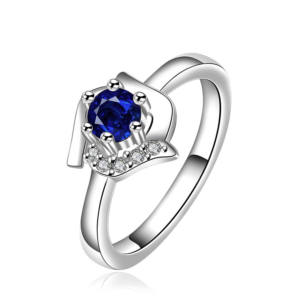Vienna Jewelry Mock Sapphire Floral Shaped Petite Ring Size: 8