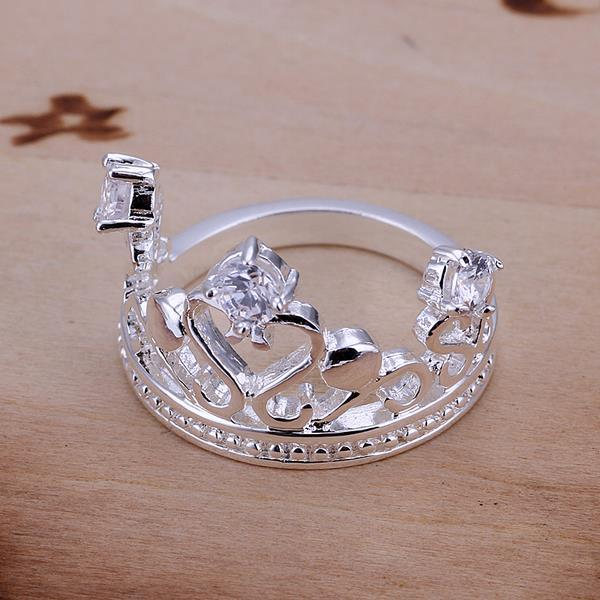 Vienna Jewelry Sterling Silver Laser Cut Crown Jewel Petite Ring Size: 8