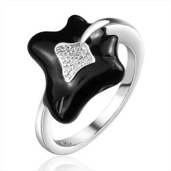 Vienna Jewelry Sterling Silver Onyx Leaf Branch Curved Ring Size: 7 - Thumbnail 0