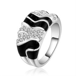 Vienna Jewelry Sterling Silver Onyx & Jewels Layering Ring Size: 8 - Thumbnail 0