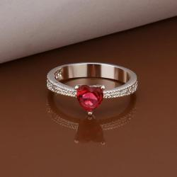 Vienna Jewelry Petite Sterling Silver Ruby Gem Ring Size: 8 - Thumbnail 0