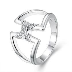 Vienna Jewelry Sterling Silver Hollow Ring with Jewels Connection Ring Size: 8 - Thumbnail 0