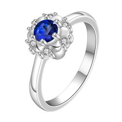 Vienna Jewelry Mock Sapphire Floral Design Petite Ring Size: 8 - Thumbnail 0