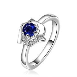 Vienna Jewelry Mock Sapphire Floral Shaped Petite Ring Size: 8 - Thumbnail 0