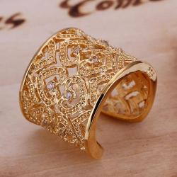 Vienna Jewelry Gold Coloring Sterling Silver Open Clasp Heart Swirl Design Classic Resizable Ring - Thumbnail 0