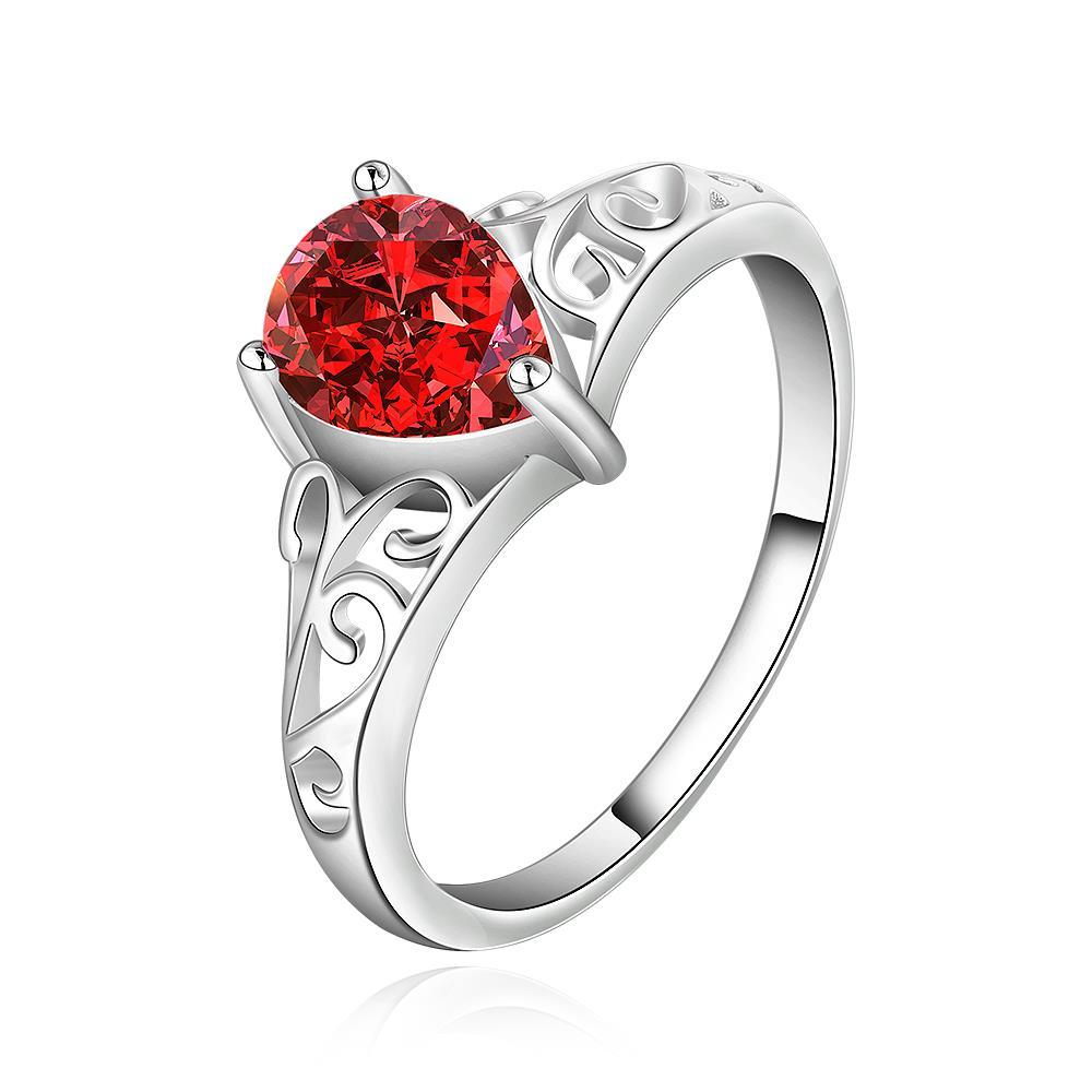 Vienna Jewelry Sterling Silver Petite Ruby Red Laser Cut Swirl Ring Size: 8