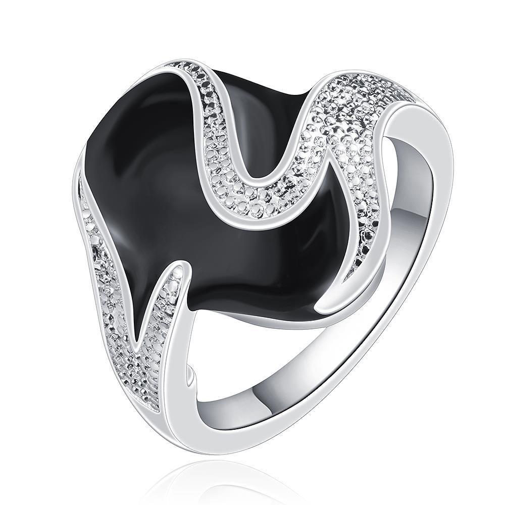 Vienna Jewelry Sterling Silver Onyx Covering Curved Abstract Ring Size: 7