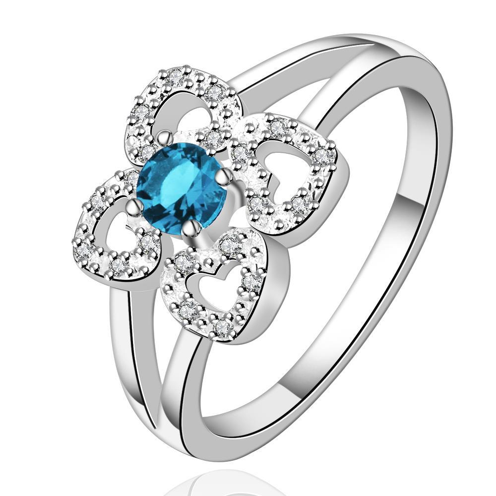 Vienna Jewelry Sterling Silver Light Sapphire Hollow Clover Shaped Ring Size: 7
