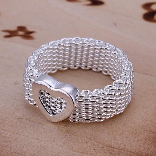 Vienna Jewelry Sterling Silver Mesh Ring with Petite Heart Emblem Ring Size: 7