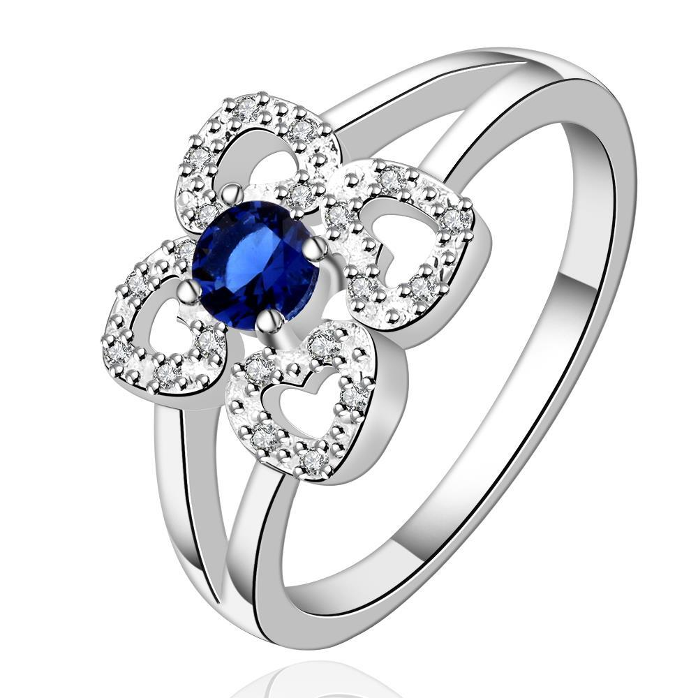 Vienna Jewelry Sterling Silver Sapphire Hollow Clover Shaped Ring Size: 7