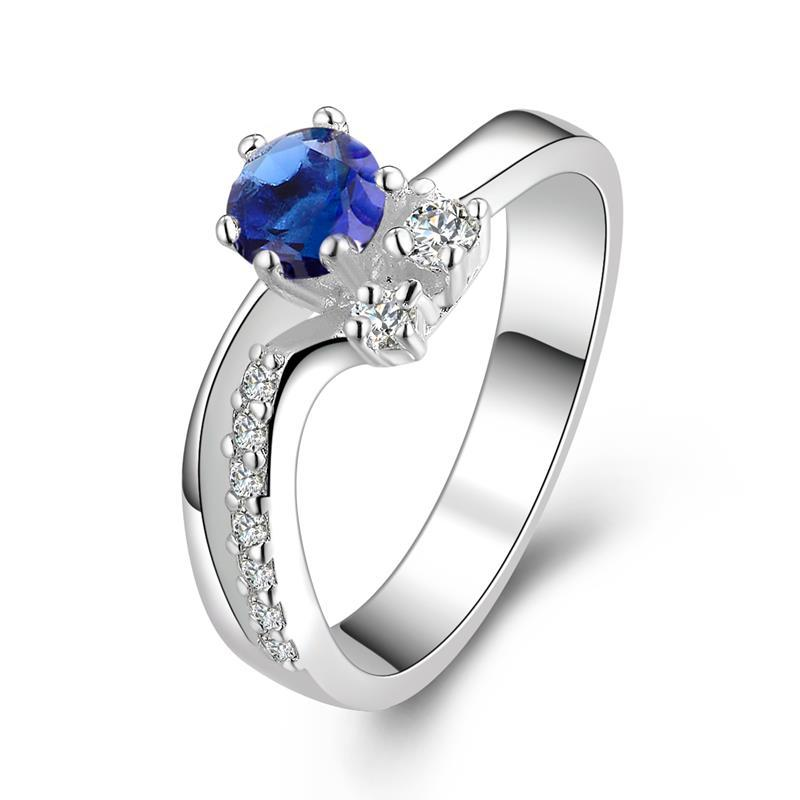 Vienna Jewelry Twin Gems Mock Sapphire Curved Petite Ring Size: 8