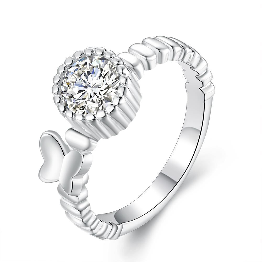 Vienna Jewelry Sterling Silver Laser Cut Pav'e Crystal Modern Ring Size: 7