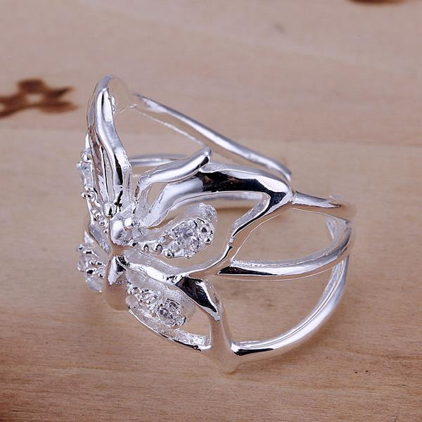 Vienna Jewelry Sterling Silver Hollow Floral Petite Resizable Ring