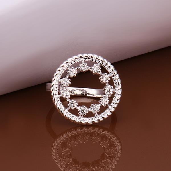 Vienna Jewelry Sterling Silver Circular Jewels Emblem Petite Ring Size: 8