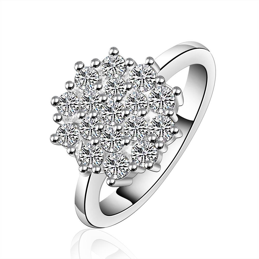 Vienna Jewelry Sterling Silver Blossoming Crystal Floral Ring Size: 7