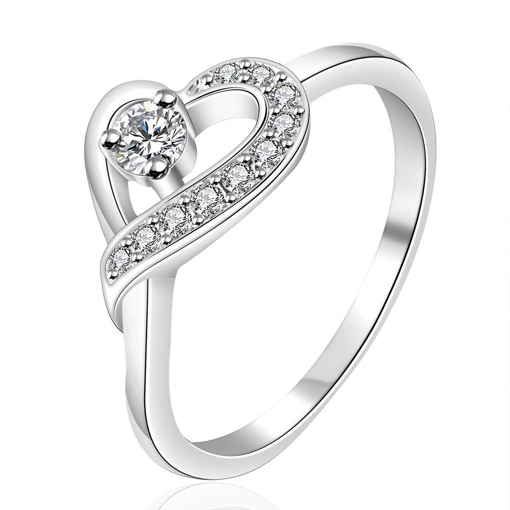 Vienna Jewelry Sterling Silver Curved Crystal Heart Design Petite Ring Size: 7
