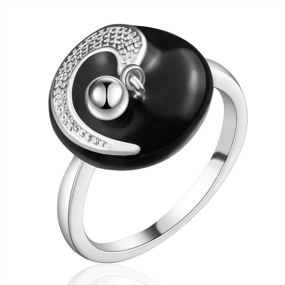 Vienna Jewelry Sterling Silver Onyx Plate Jewels Swirl Petite Ring Size: 7