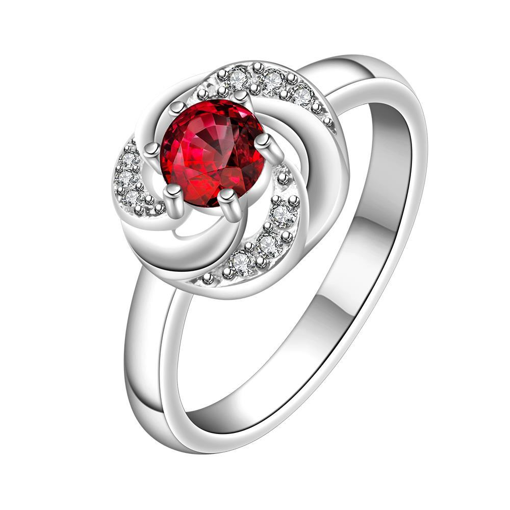 Vienna Jewelry Ruby Red Swirl Design Petite Ring Size: 8
