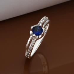 Vienna Jewelry Petite Mock Sapphire Jewels Crusted Petite Ring Size: 8 - Thumbnail 0
