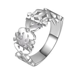 Vienna Jewelry Sterling Silver Interlocking Emblem Design Ring Size: 8 - Thumbnail 0