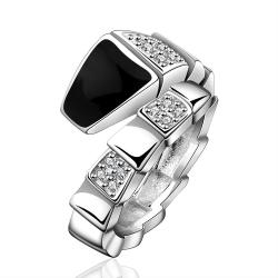 Vienna Jewelry Sterling Silver Onyx Layering Plating Swirl Ring Size: 8 - Thumbnail 0