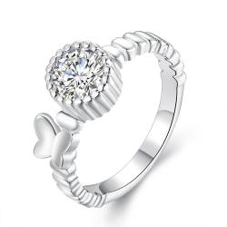 Vienna Jewelry Sterling Silver Laser Cut Pav'e Crystal Modern Ring Size: 7 - Thumbnail 0