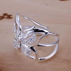 Vienna Jewelry Sterling Silver Hollow Floral Petite Resizable Ring - Thumbnail 0