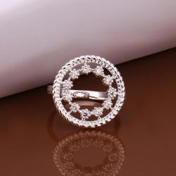 Vienna Jewelry Sterling Silver Circular Jewels Emblem Petite Ring Size: 8 - Thumbnail 0