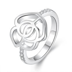 Vienna Jewelry Sterling Silver Laser Cut Hollow Floral Petal Ring Size: 8 - Thumbnail 0