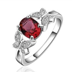 Vienna Jewelry Sterling Silver Petite Ruby Gem Duo-Butterfly Ring Size: 8 - Thumbnail 0