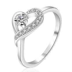 Vienna Jewelry Sterling Silver Curved Crystal Heart Design Petite Ring Size: 7 - Thumbnail 0
