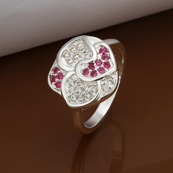 Vienna Jewelry Sterling Silver Petite Ruby Red Blossoming Floral Ring Size: 8