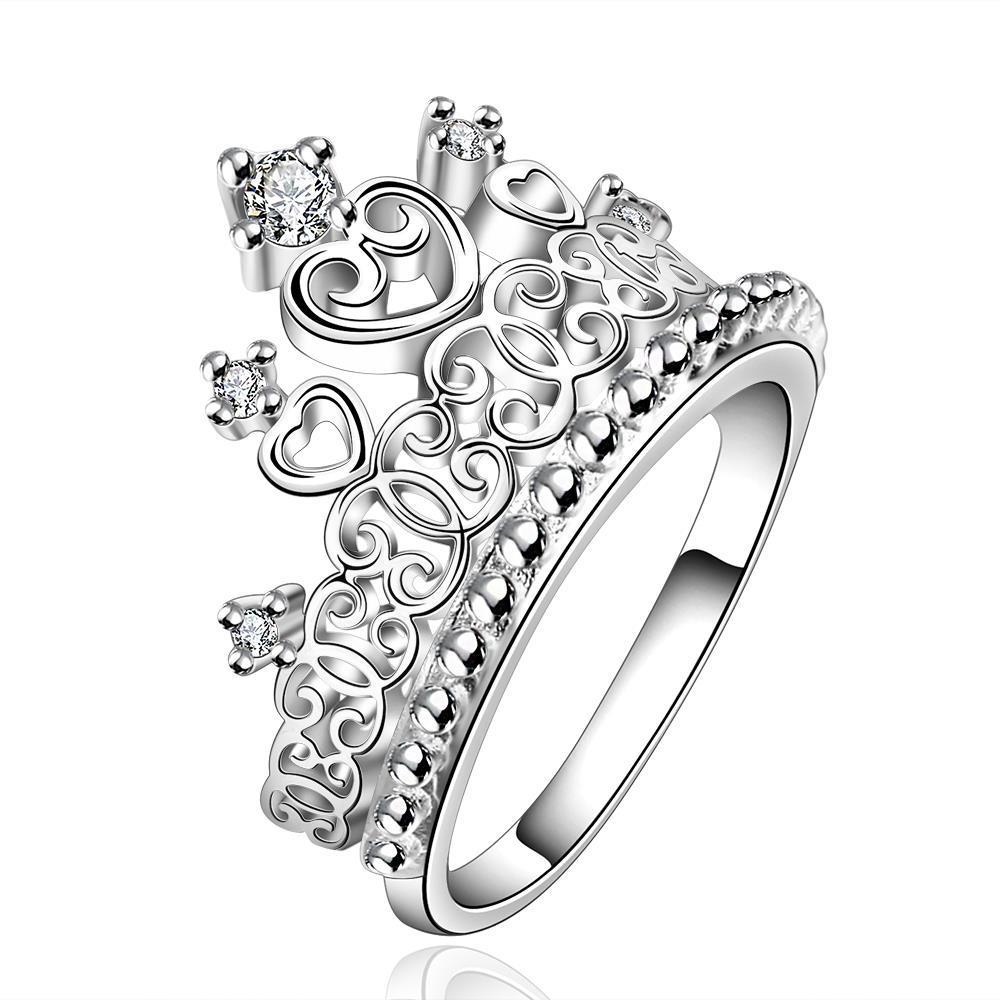 Vienna Jewelry Sterling Silver Queen's Crown Large Ring Size: 7