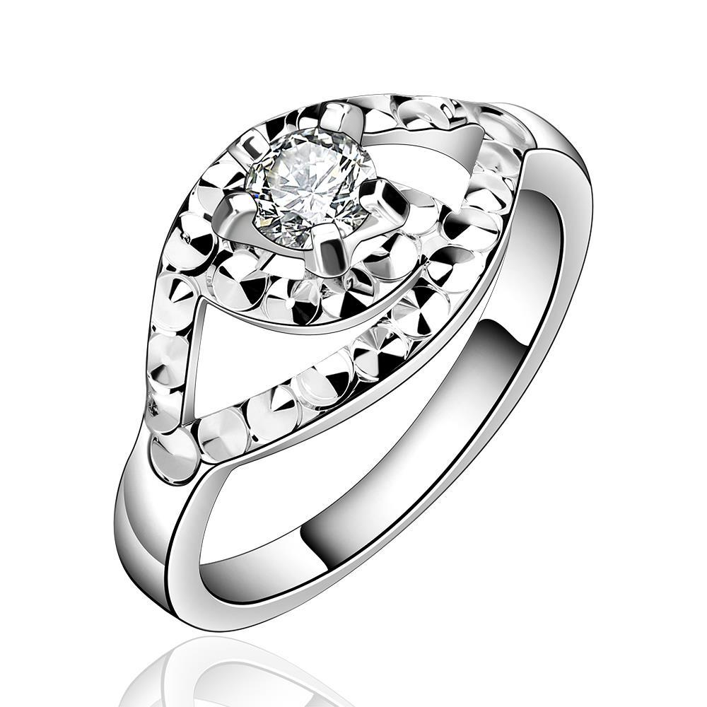 Vienna Jewelry Sterling Silver Crystal Emblem Petite Ring Size: 8
