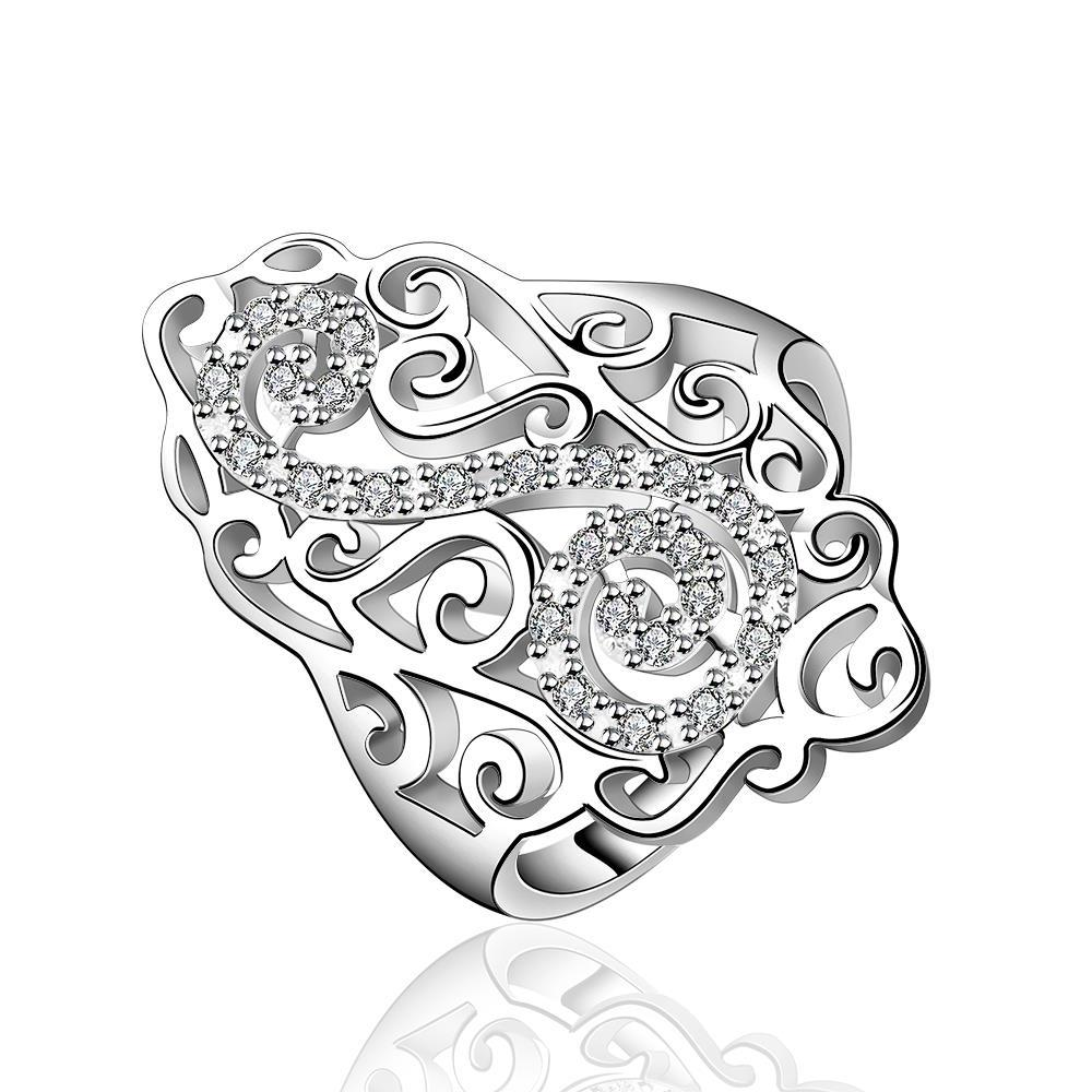 Vienna Jewelry Sterling Silver Swirl Emblem Large Ring Size: 8
