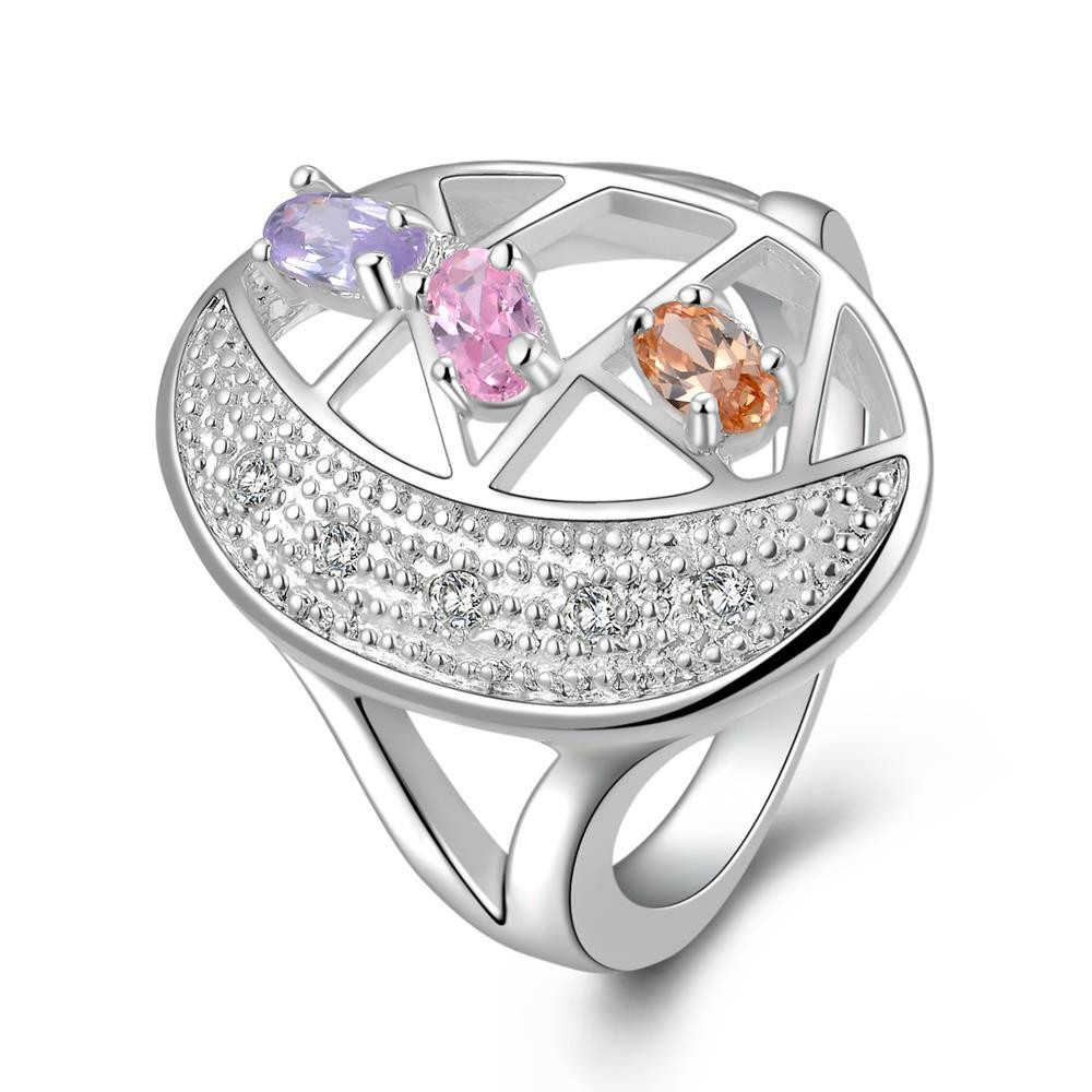 Vienna Jewelry Sterling Silver Trio-Colored Gems Circular Modern Ring Size: 8