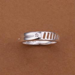 Vienna Jewelry Sterling Silver Laser Cut Petite Lining Ring Size: 8 - Thumbnail 0
